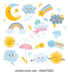 Cute weather set. Emotional weather forecast. Cute sun and happy clouds.