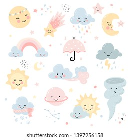 Cute weather set. Moon, star and clouds with rainbow. Vector characters for baby shower, wall decor, greeting card, kids t-shirts and wear. Hand drawn nursery illustration.