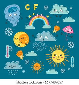 Cute weather set. Vector illustration. Forecast meteorology symbols of sun, rain, storm, snow, wind, moon, rainbow. Adorable childish cartoon characters isolated on dark background.