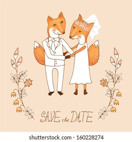 Cute wedding cart with two foxes in love with leafs and flowers