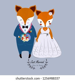 Cute wedding couple fox in wedding dress and flower bouquet,just married.Valentine's day concept.