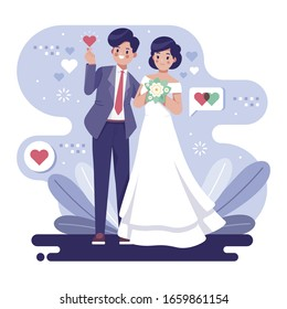 Cute wedding couple illustration concept