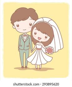 Cute wedding couple on yellow background.Vector