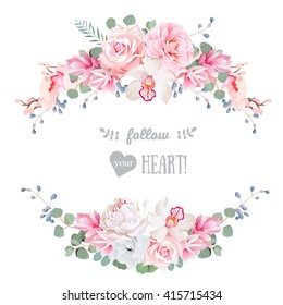 Cute wedding floral vector design frame. Rose, peony, orchid, anemone, pink flowers, eucalyptus leaves. Floral banner stripe elements.
