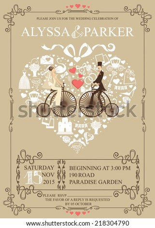 Cute Wedding Invitation Design Template Vintage Composition Shape