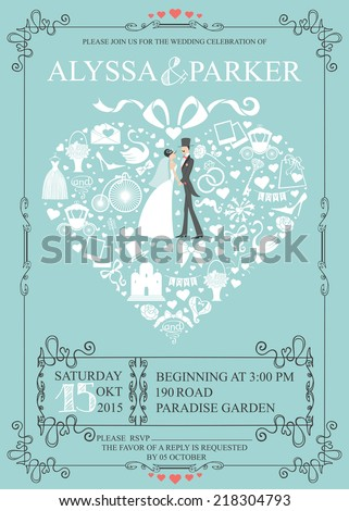 9048571509f9 Cute Wedding invitation Design template.Vintage.Composition in the shape of  heart with Bride