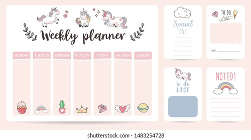 cute weekly planner background with unicorn,rainbow,ice cream,cloud.Vector illustration for kid and baby.Editable element
