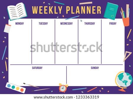 picture about Cute Weekly Planner named adorable weekly faculty planner -