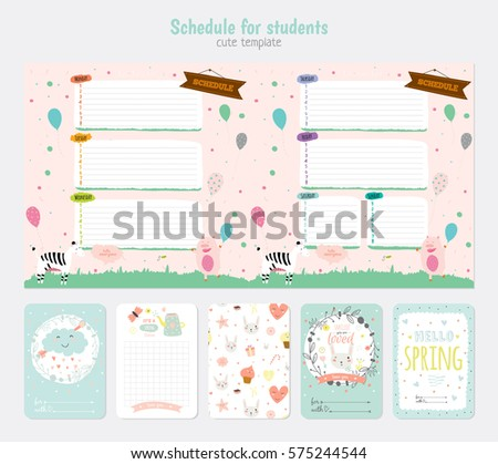 Cute Weekly Planner Template Beautiful Diary Stock Vector Royalty