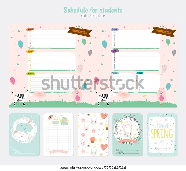 Cute Weekly Planner Template Beautiful Diary Stock Vector