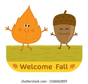 Cute welcome fall clip-art with happy leaf and acorn. Eps10