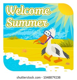 Cute welcome summer sign of a happy pelican with snorkel at the beach. Eps10