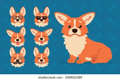 Cute Welsh Corgi constructor. Vector illustration of Corgi dog sitting and it's head shows different emotions in flat cartoon style on blue background. Smiley. Element for your design. Emoticon.
