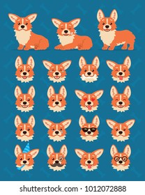 Cute Welsh Corgi constructor. Vector illustration of Corgi dog in different poses, it's head shows various emotions in flat cartoon style on blue background. Smiley. Element for your design. Emoticon.
