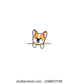 Cute welsh corgi dog paws up over white wall, vector illustration