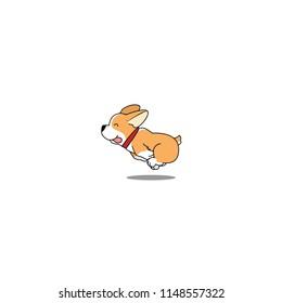 Cute welsh corgi dog running, vector illustration