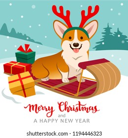 Cute welsh corgi dog sitting on sled wearing reindeer antlers with Christmas gifts around, winter hills with trees in background, snow falling. Christmas for pets, dog lovers theme cards, posters.