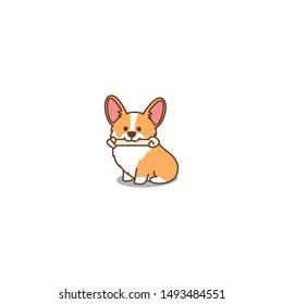 Cute welsh corgi puppy cartoon icon, vector illustration
