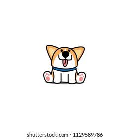 Cute welsh corgi puppy sitting, vector illustration
