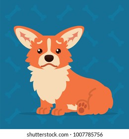 Cute Welsh Corgi sitting sad. Element for your design, print, chat, sticker.  Vector illustration of Corgi dog shows unhappy emotion in flat cartoon style on blue background. Emoticon.