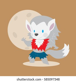 cute werewolf vector illustration for halloween theme card or print material
