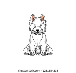 Cute West Highland White Terrier Cartoon Dog. Vector illustration of purebred west highland white terrier dog.