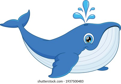 cute whale cartoon isolated on white background
