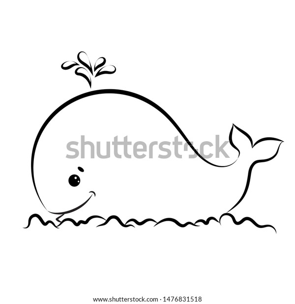 Cute Whale Coloring Book Page Kids Stock Vector (Royalty Free) 1476831518