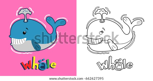 - Cute Whale Coloring Page Children Stock Vector (Royalty Free) 662627395