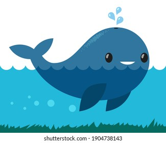 Cute whale icon with water fountain blow
