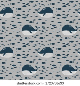 cute whale and little fish, seamless pattern, cartoon vector illustration