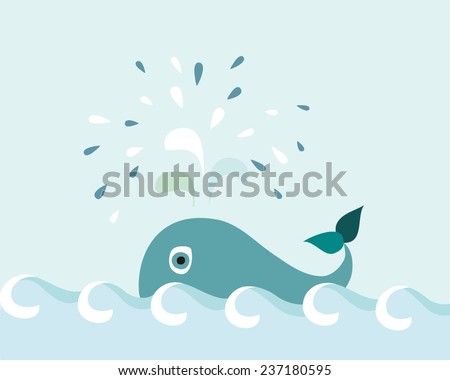 Cute whale spouts water