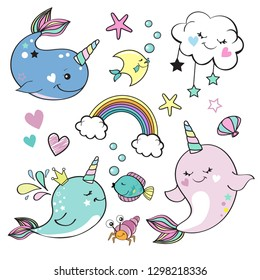 Cute whale unicorn collection, rainbow and marine inhabitants on a white background