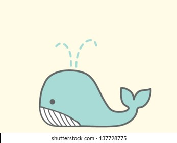 Cute Whale - Vector File EPS10