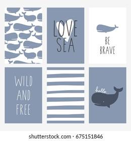 Cute Whale vector print.