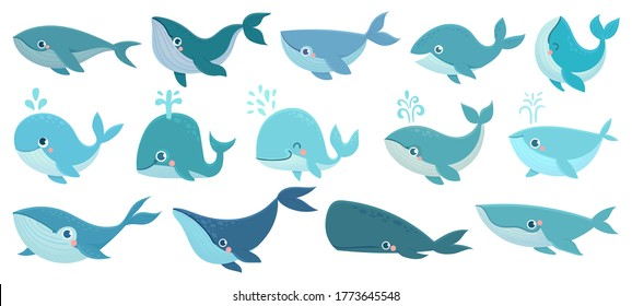 Cute whales. Marine life animals, underwater blue whales, childrens icons for stickers, baby shower, books. Simple cartoon vector set. Aquatic creatures, narwhal splashing water through blowhole
