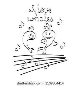 """Cute whales, music notes.The text """" I love whales."""" Vector."""