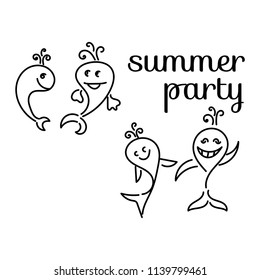 """Cute whales. Text """"summer party"""". Vector"""