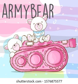 Cute white bear army on tank cartoon illustration for kids. White bear wearing scarf on the tank cartoon vector