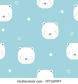Cute white bear seamless pattern. Vector hand drawn illustration.