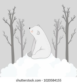 A cute white bear sits on the edge of a cliff and looks at the sky with clouds. Beautiful background.