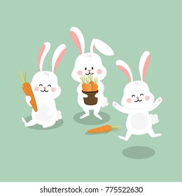 cute white bunny with carrot. rabbit vector. animal and food cartoon.