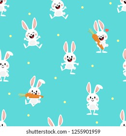 Cute white bunny and carrot seamless pattern. Rabit cartoon character.