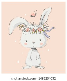 Cute White Bunny Girl wreath of flowers. Can be used for t-shirt print, kids wear fashion design, baby shower invitation card.