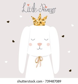 Cute white bunny little princess with golden glitter crown. Vector hand drawn illustration.