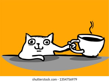 Cute white cat with coffee cup, hand drawn vector illustration
