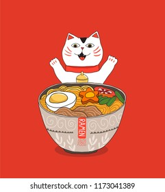Cute white cat eats ramen noodles soup