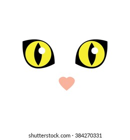 Cute white cat eyes-vector