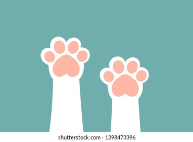 Cute white cat paws with pink pillows up. Vector illustration.