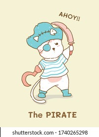 cute white cat in pirate costume, children illustration flat vector idea for greeting card, kid, nursery stuff print